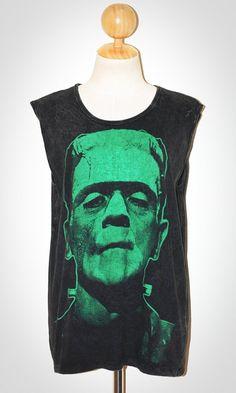 Frankenstein Bleached Black Sleevless Indie Art Horror Classic Movie Rock T-Shirt Size L