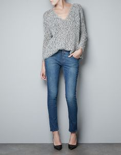 TWIST KNIT SWEATER WITH LACE - Knitwear - Woman - New collection - ZARA Canada