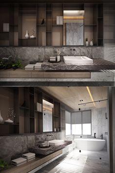 Morden House, Cafe Idea, Modern Bathrooms, Bathroom Toilets, Powder Rooms, Home Interior Design, Future House, Seoul, Alcove