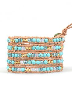 Turquoise and Gold Mix Wrap Bracelet on Natural Leather | Talulah Lee