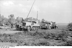 Two German SdKfz. 9 halftrack vehicles towing a Tiger I heavy tank, near Nettuno, Italy, Mar 1944