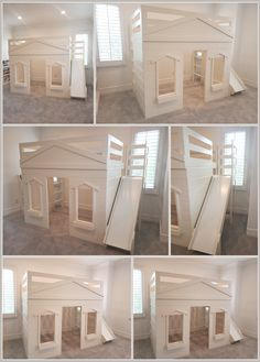 Super sleek solid wood full size playhouse loft with slide delivered to our client in CA. We worked with their to create the perfect bed to fit their space. House Beds For Kids, Bed For Girls Room, Cool Kids Bedrooms, Big Girl Bedrooms, Kid Beds, Girl Room, Toddler Bed With Slide, Toddler Loft Beds, Playhouse Loft Bed