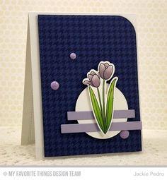 Spring Tulips stamp set and Die-namics, Houndstooth Background, Blueprints 22 Die-namics - Jackie Pedro #mftstamps