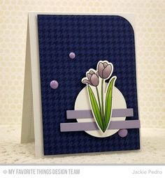 hand crafted card from The Scalloped Edge ... crispn graphic look ... tulip image ... dramatic navy background layouer ... great card!!