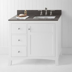 "Ronbow Hampton 36"" Bathroom Vanity Cabinet Base in White - Door on Right"