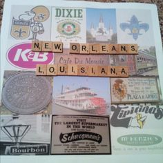 I made the collage and then used scrabble pieces for the the letters. All it needs is a frame!