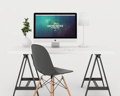 White iMac Workspace Mockup. I did some shoots from custom workspace in studio with different arrangements. You can use the mockup to show case your design or presentation on Apple Device with photorealistic effect. Add your image inside the smart object and enjoy you work.