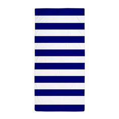 Bold Navy and White Stripes Beach Towel