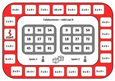 Spelbord tafel van 9 Speech Language Therapy, Speech And Language, Waldorf Math, Math Magic, Math Multiplication, Early Math, Math For Kids, Math Classroom, Teaching Math