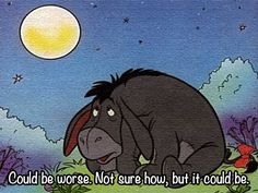 Could be worse.  Not sure how, but it could be.  ~Eeyore