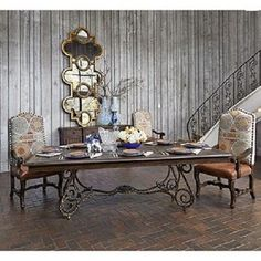 Wrought Iron Base Wood Top Dining Table Wrought iron Iron and Woods