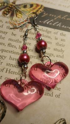 Pink Puffed Hearts Dangle Earrings