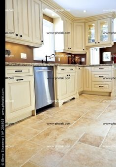 tile with cream cabinets