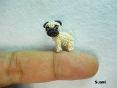 Micro Miniature Tan Pug Dog - Teeny Tiny Dollhouse Miniature Pet - Thread Crochet Animals -Etsy