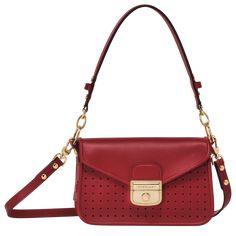 Mademoiselle Longchamp - Bolso bandolera Jeanne Damas, Jane Birkin, Fashion Handbags, Tote Handbags, Satchel, Crossbody Bag, Red Bags, Mademoiselle, Leather Bag