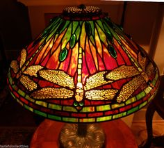 "Tiffany Reproduction Stained Glass Lamp Shade 20"" Dragonfly Odyssey Pattern #TiffanyStainedGlass"