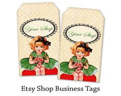 Personalized business tags Etsy shop business gift tags on Printable Digital collage sheet Etsy shop set made by FrezeArt
