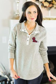 """Ole Miss Rebels """"In A Snap"""" Quarter Button Snap Pullover - Gameday Couture College Outfits, Kids Outfits, Ole Miss Rebels, Texas Tech Red Raiders, Georgia Bulldogs, Alabama Crimson Tide, Tunic Tops, Buttons, Pullover"""