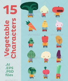 15 Vegetable Characters  #GraphicRiver         What if simple vegetables could travel trough space. This vector pack of characters has some fun with that question. The vegetable guys are here to cover some needs such as mascots for your products and is ideal to pump a bit a website design and perfect to