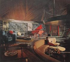 WOAH!!!!!!! 1950s Goff House. Horribly dark, but love the circular floorplan and the sunken seating area ...!