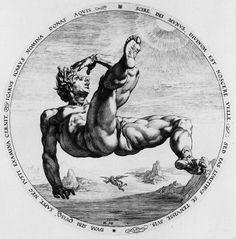 Ícaro. Cornelisz van Haarlem / Goltzius, Heindrick. Grabado, 34,2 cm diámetro. 1562 – 1638. Ámsterdam, Rijksmuseum.