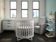 SOREN Round Crib made of solid Oak wood, made in Canada We ask you, can this compact little round crib be any more precious and perfect for your new baby ? This modern and unique nursery room set includes: Soren Round Crib in White Soren Bookcase in White Soren 3 Drawer Dresser in 2 Tone - White/Elephant Grey Natart Divani Glider Recliner in Fog Grey with Grey wood base.  Our websites: www.natartjuvenile.com  www.tulipjuvenile.com www.nestjuvenile.com