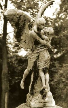 """Angelo Statue can visit the marker on the grave where your father wept openly."""" -Barbara Ras @ the poetrycooker Cemetery Angels, Cemetery Statues, Cemetery Headstones, Old Cemeteries, Cemetery Art, Graveyards, Angels Among Us, Angels And Demons, Bel Art"""