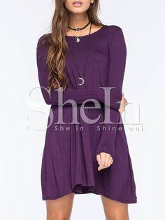 Purple Eggplant Long Sleeve Casual Dress -SheIn(Sheinside) Purple Long  Sleeve Dress d1441fc61