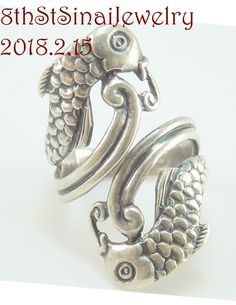 Estate Mexican CBS Sterling Silver 925 Pisces Double Fish Wrap Ring Size 8 #CBSEagle3 #Wrap .  #Pisces #Eagle3 #CBS #Taxco #Mexico #925 #WrapRing #TwoFish #SterlingSilver #Ring #Unique #Beautiful #EstateJewelry #VintageJewelry #8thStSinaiJewelry #FreeShipping  http://stores.ebay.com/8thstsinaijewelry