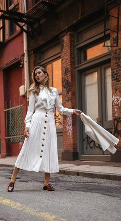 Summer Staples // White pleated button front midi skirt, white pussy bow blouse, white blazer, tan loafers { j.crew, sara battaglia, summer white outfit, summer style, classic fashion}