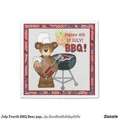 July Fourth BBQ Bear paper napkin