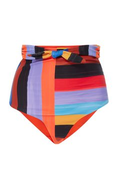 This **Mara Hoffman** Jay High Waisted Bikini Bottom features a tied high waistband with full coverage.