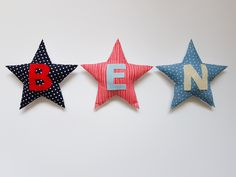 These beautiful fabric covered padded stars with a velcro strip for hanging, come plain or personalised depending on your preference. The floating stars can be arranged and hung in whatever fun way you like and they are great for adding a bit colour to your bedroom or bedroom door.  Price €7 per star Door Price, Bedroom Doors, Beautiful Gift Boxes, Fabric Covered, Fabric Design, Cotton Fabric, Gift Wrapping, Colour, Christmas Ornaments