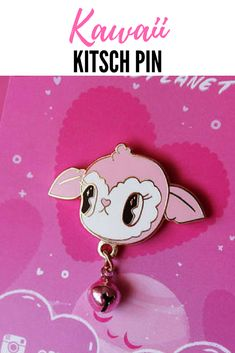 Kawaii Kitsch lamb face pin with jingle bell. Pretty in Pink, about $10.75 on Etsy #ad #kawaii #kitsch #lamb