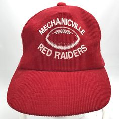 Mechanicville NY Red Raiders High School Football Snapback Hat Cap Red Corduroy  #Yupoong #BaseballCap