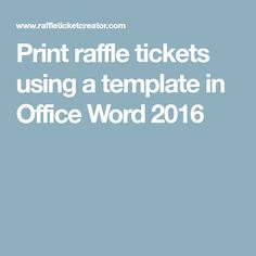 how to make tickets for an event on word