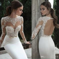 Berta Bridal 2014 Lace Bodice High Collar With Sheer Long Sleeves Mermaid Illusion Wedding Bridal Dress Floor Length Long Backless Dresses