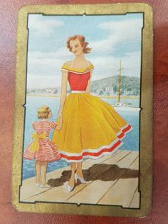 Vintage Coles Swap Card Lady and child
