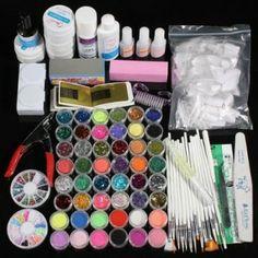 48 Glitter UV Gel Nagel Gerät Nail Art Pinsel Zubehör Glue image