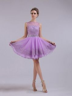 Lilac Organza Lace Crystal Detailing Scoop Neck Short/Mini Prom Dresses -€118.89