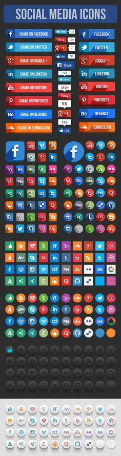 Free PSD Here. This is a set of vector social media icons and some social share elements. Included Files- PSD (%100 Vector Shaped). Enjoy it!