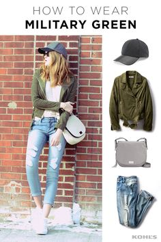 Update your love for army green for colder weather by adding a warm base layer and a wool cap. Featured product includes: Apt. 9 wool baseball hat; Jennifer Lopez faux-suede moto jacket in moose magic; Cuddl Duds softwear with stretch crewneck top; Indigo Rein 2-button skinny ankle jeans; and Juicy Couture Rosa saddle crossbody bag in white swan. Refresh your winter outfits with Kohl's
