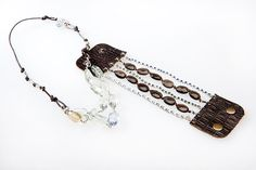 Green Amethyst, Lemon Quartz, Leather & Sterling Silver Necklace and Smokey Topaz and Leather Cuff Bracelet.    Click to learn more.