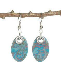 Oval Dangle Earrings - Drop Earrings - Polymer Clay Jewelry -  Mokume Gane - Art Jewelry - Tribal Ellipse Hypoallergenic Fishhook Earrings. $17.00, via Etsy.