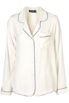 Trend: Pajama dressing. Love this Topshop pajama silk top.