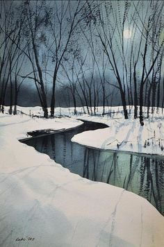 Watercolor. Winter landscapes