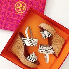 Tory Burch Floral Perforated Wedge Sandal spotted on @lonestarsouthern's Instagram