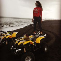 """I rode an ATV up a Volcano and down to a black beach today!! Yep, """"cool"""" would be the right word. Other correct words would be awesome, exhilarating, unbelievable and adventurous. Ironically, I was speechless when I did it :) 🌏🌚🔥🌊 Happy holidays!"""