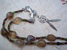 Pentacle Necklace with Raven or Crow Bird by BriarsWickedWishes