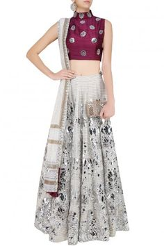 Off white and silver floral foil work lehenga and maroon blouse set available only at Pernia's Pop Up Shop.